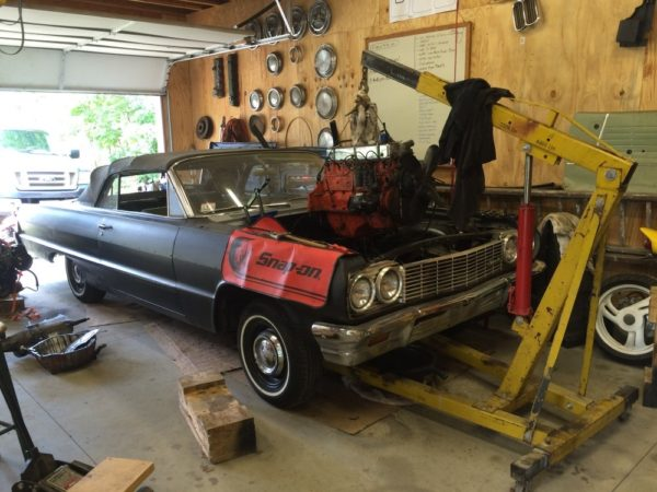 1964 impala in the middle of LS engine swap
