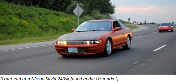 Front end of a Nissan Silvia 240xs found in the US market