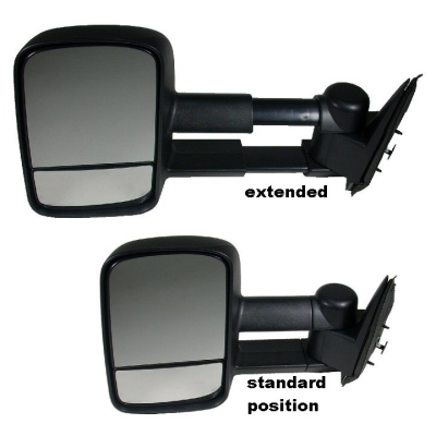 telescoping mirror showing extended & standard positions