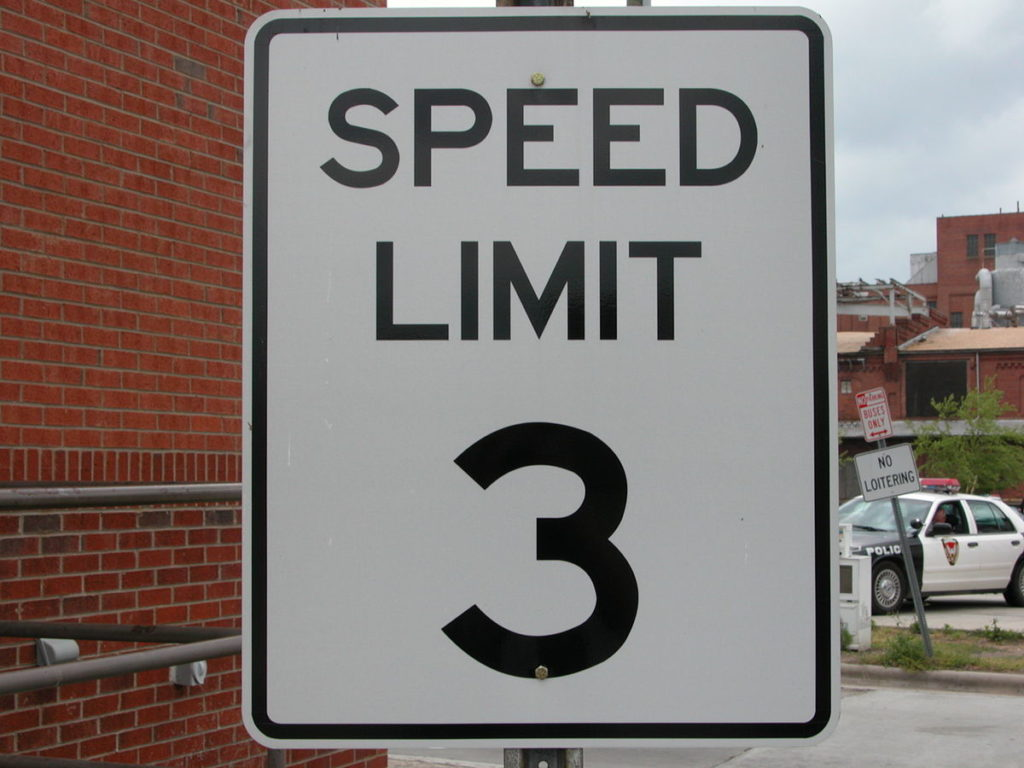 Speed Limit 3 mph sign