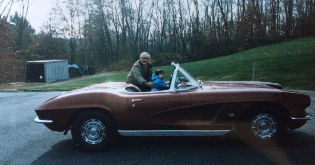 vintage corvette - father and daughter