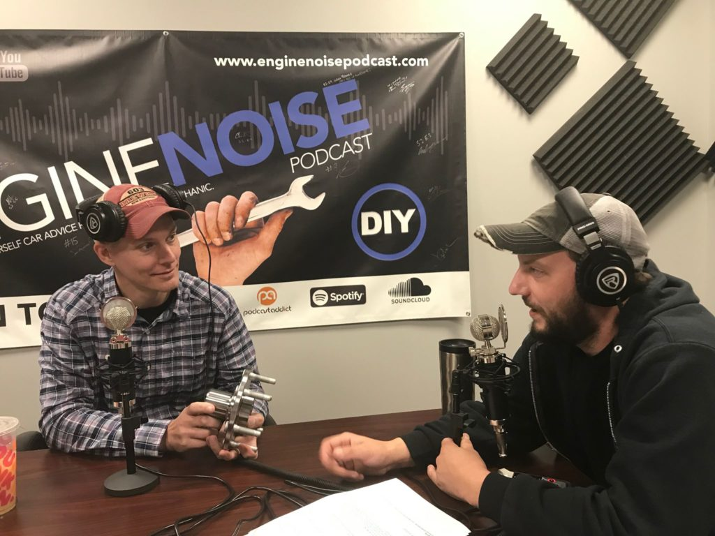 "Jeremy (left) and Matt chat in the studio before recording a new episode of the 1A Auto-sponsored podcast they host, ""Engine Noise."""