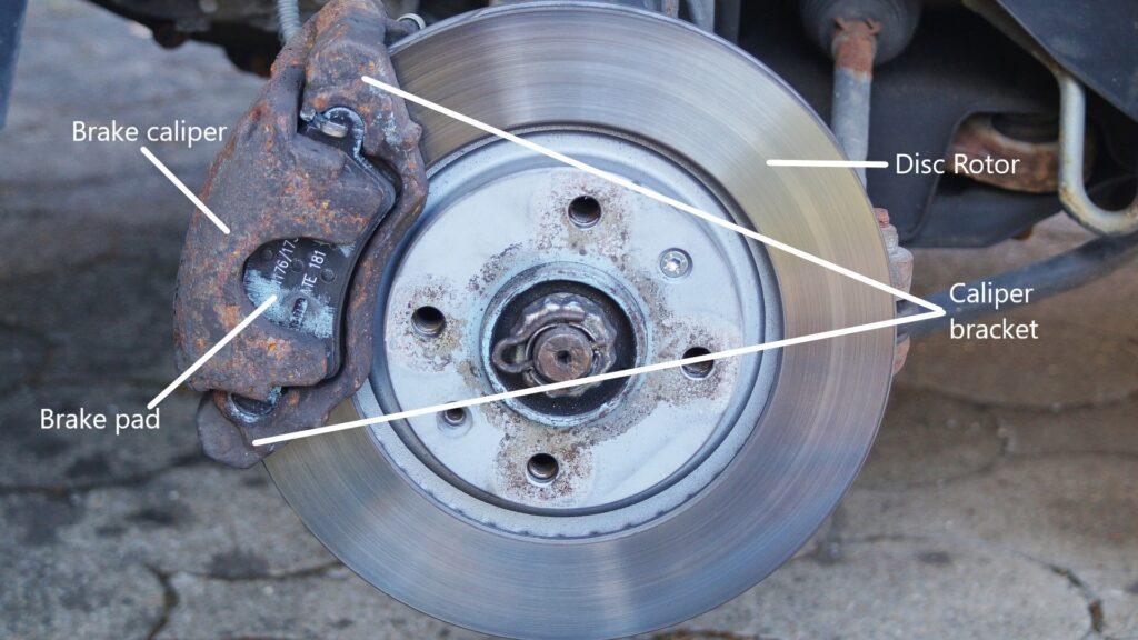 anatomy of sticking front brake caliper