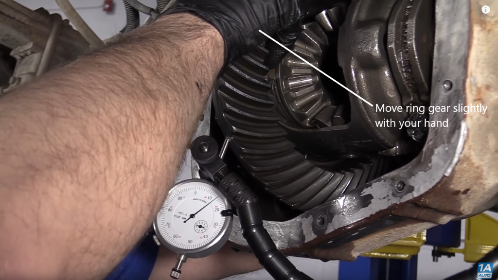 Move ring gear slightly with you hand to diagnose the rear end noise