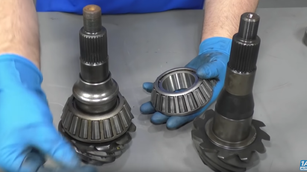 If you have worn gears, remove and replace the ring and pinion.