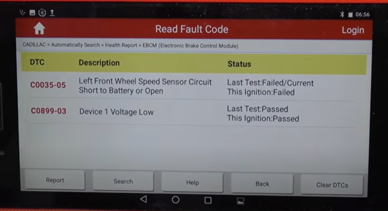 Scan tool reading wheel speed sensor codes on the 08-14 Cadillac CTS