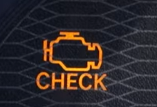 "Check engine light with engine outlined in orange and the word ""check"" underneath"