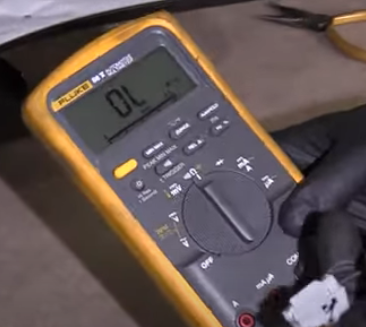 Multimeter reading for 100% electrical resistance