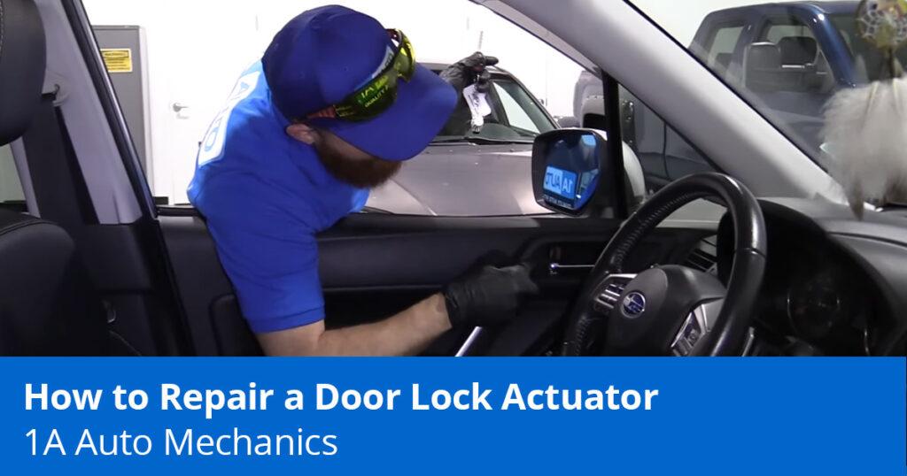 Mechanic diagnosing the door lock actuator