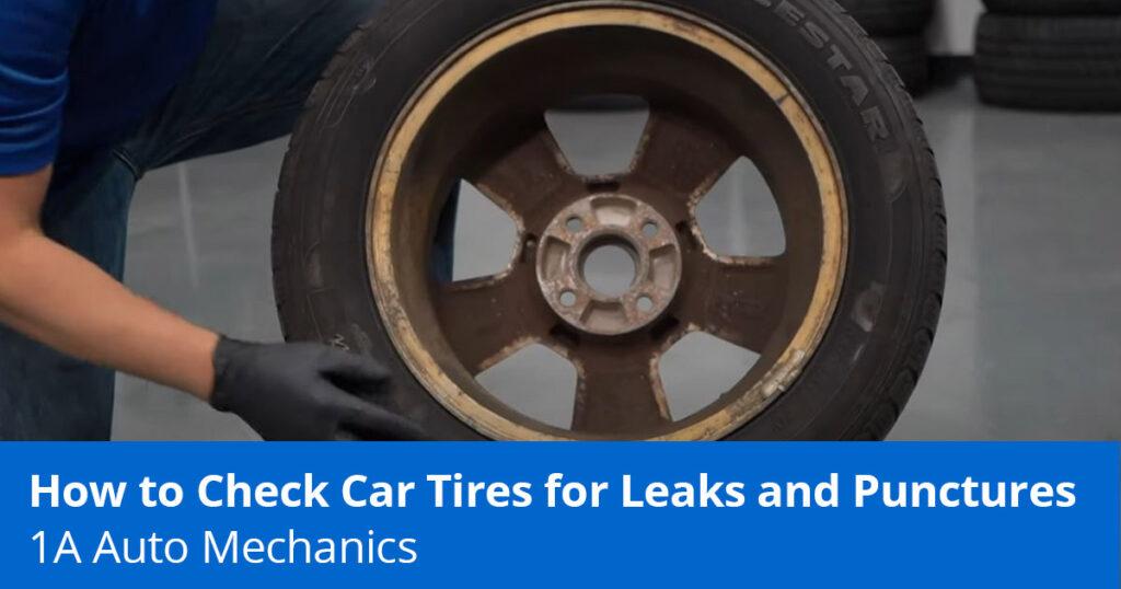 Mechanic showing slow leak in tire