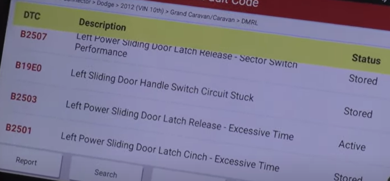 Advanced scan tool reading the automatic door's modules
