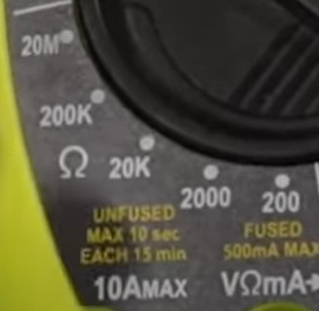 Omega icon, which is the symbol for ohms, on a digital multimeter