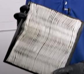 Bent engine air filter