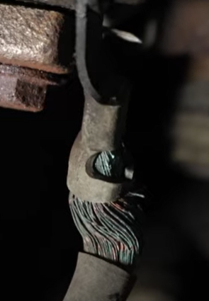 electrical cable with green corrosion