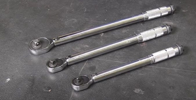 Three click-type torque wrenches with different ranges: 200 inch-pounds, 80 foot-pounds, and 150 foot-pounds
