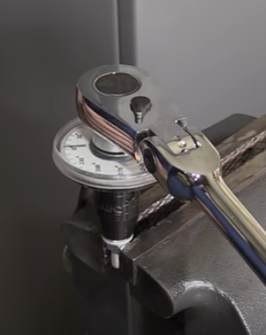 Torque angle gauge in use