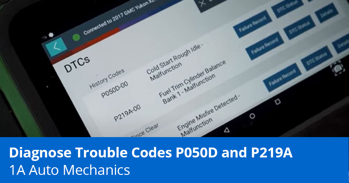 Rough Idle at Cold Start? How to Diagnose Codes P050D and P219A - 1A Auto
